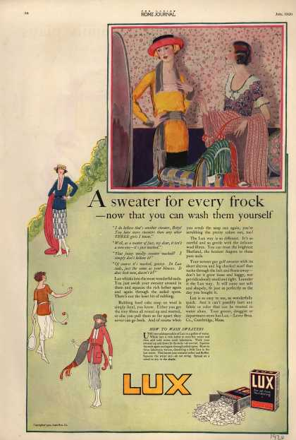 Lever Bros.'s Lux (laundry flakes) – A sweater for every frock (1920)