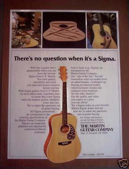 Martin Sigma Guitars Dt-3n Model Music (1988)