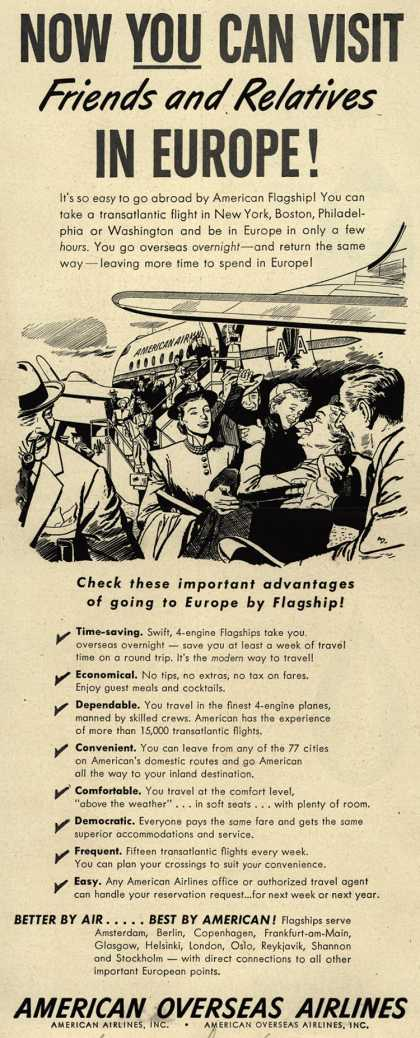 American Airline's Europe – Now You Can Visit Friends and Relatives In Europe (1948)