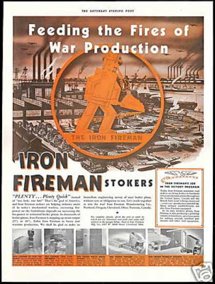 Iron Fireman Stokers Furnace WWII RB Rogers Art (1942)