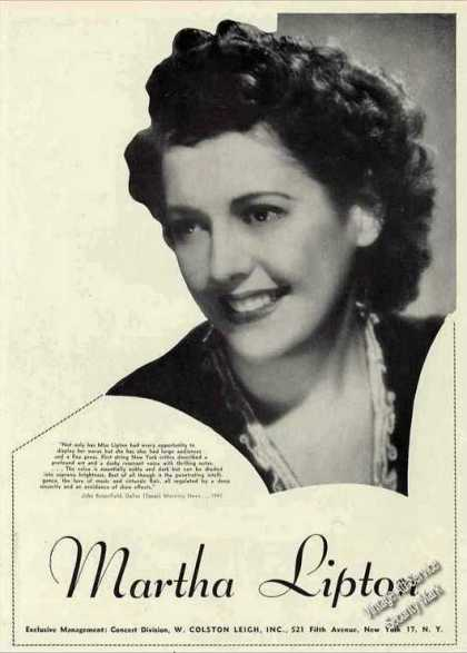 Martha Lipton Photo Collectible Booking Ad Music (1944)
