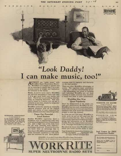"WorkRite Manufacturing Company's Radio – ""Look Daddy! I can make music, too!"" (1924)"