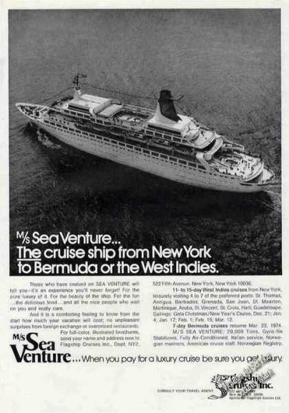 M/s Sea Venture Cruise Ship Ny To Bermuda (1973)