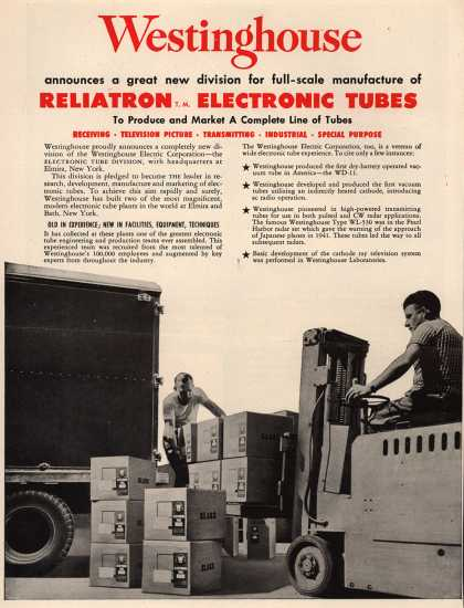 Westinghouse Electric Corporation's Reliatron Electronic Tubes Division – Westinghouse Announces a Great New Division for Full-Scale Manufacture of Reliatron Electronic Tubes to Produce and Market a Complete Line of Tubes (1952)