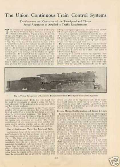 """The Us&s Continuous Train Control Systems""Article (1924)"