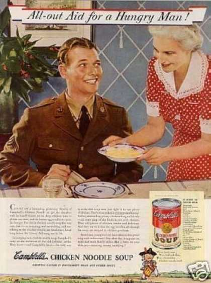 "Campbell's Chicken Noodle Soup Ad ""All-out Aid... (1941)"