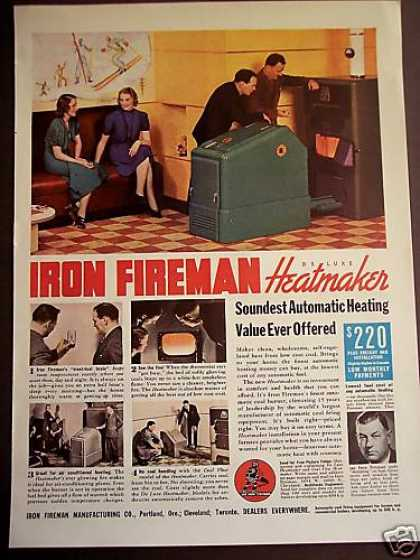 Iron Fireman Heatmaker Furnace W Electric Brain (1938)
