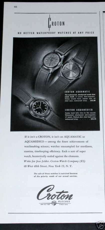 Old , Croton Waterproof Watches (1943)