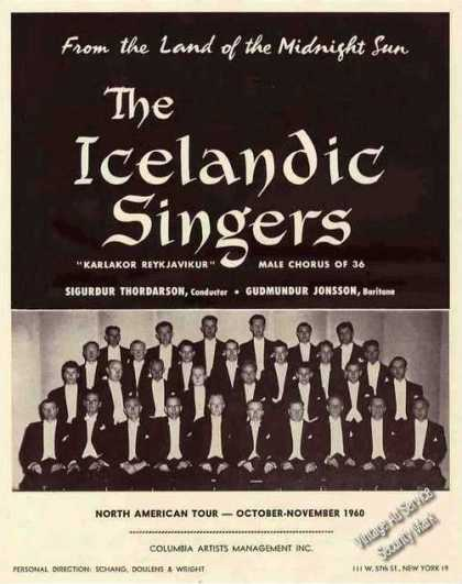 Icelandic Singers Group Photo Collectible Trade (1960)