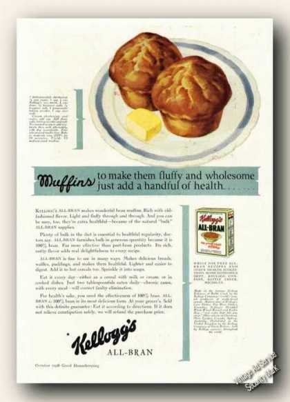 Kellogg's All-bran Muffins Antique Cereal (1928)