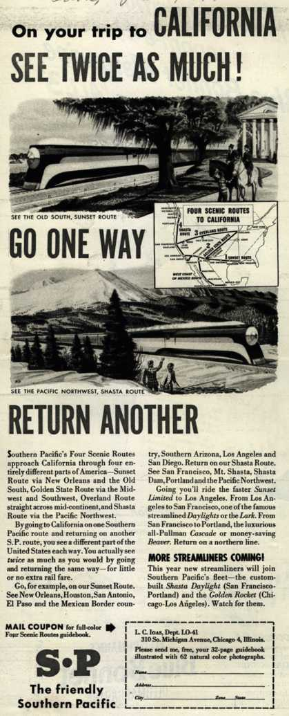 Southern Pacific's California – On your trip to CALIFORNIA SEE TWICE AS MUCH (1947)