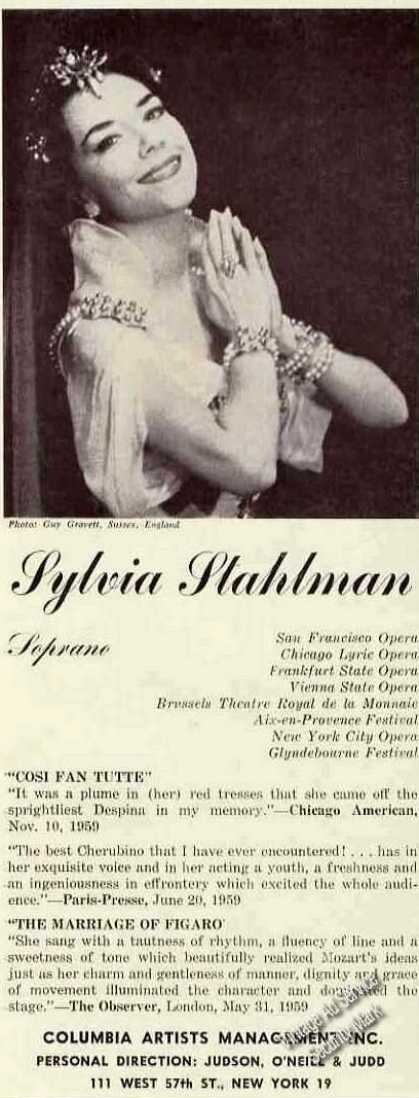 Sylvia Stahlman Photo Opera Booking (1960)