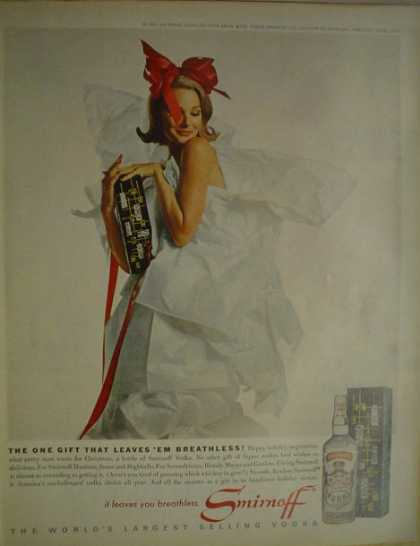 Smirnoff Vodka Woman wrapped as gift with bow (1962)