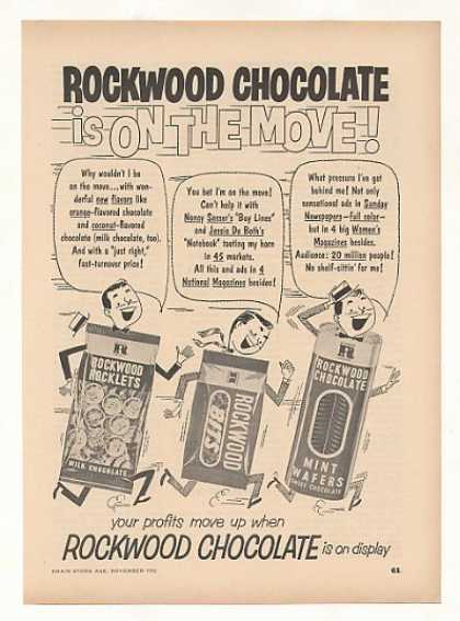 Rockwood Chocolate Rocklets Bits Wafers Trade (1952)