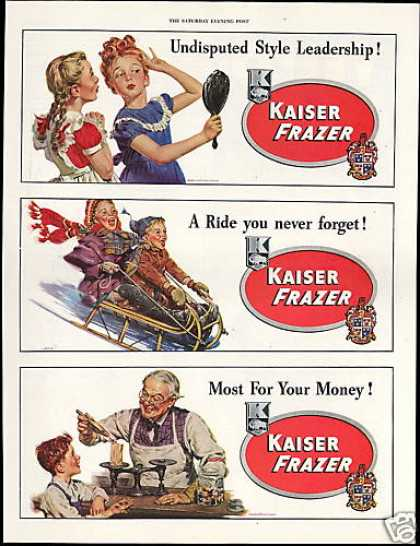 Kaiser Frazer Car Girls Sled Candy Anderson Art (1948)