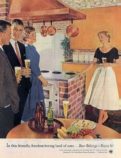 "Beer Belongs Ad ""Showing Off the New Kitchen"" (1955)"