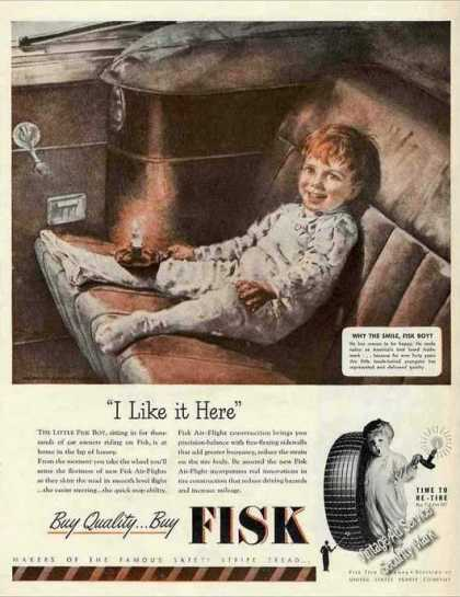 Fisk Boy In Back Seat Art Nice Fist Tires (1946)