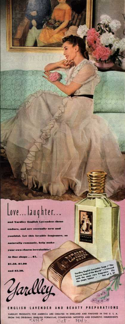 Yardley of London's English Lavender Cosmetics – Love...laughter... (1942)