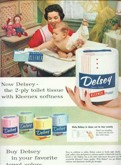 Delsey Toilet Paper In Colors Ad Pretty Mom (1955)