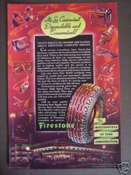 Original 30's Firestone Car Tire Art (1936)