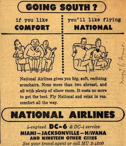National Airline's reclining armchairs – Going South? If you like Comfort you'll like flying National (1948)