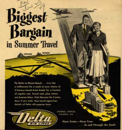 Delta Airline's Summer Travel – Biggest Bargain in Summer Travel (1949)