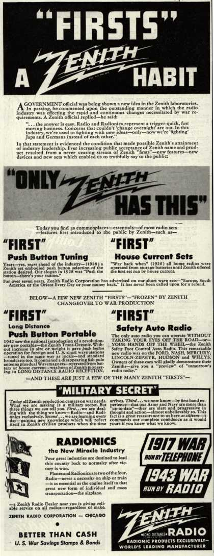 "Zenith Radio Corporation's Radio – ""Firsts"" A Zenith Habit (1943)"