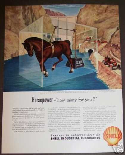 Shell Oil Lubricants Horsepower Art (1946)