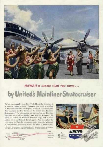 United Airlines Stratocruiser To Hawaii Photo (1951)