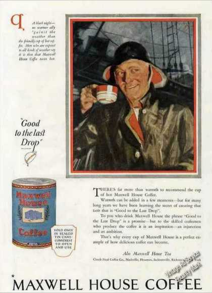 Maxwell House Coffee Fisherman Art (1924)