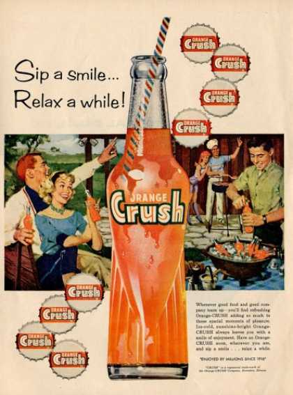 Orange Crush Glass Bottle Cap Ad T (1959)