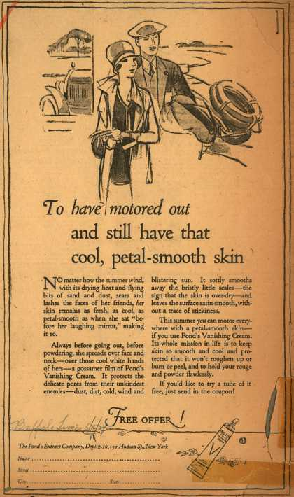 Pond's Extract Co.'s Pond's Vanishing Cream – To have motored out and still have that cool, petal-smooth skin (1924)