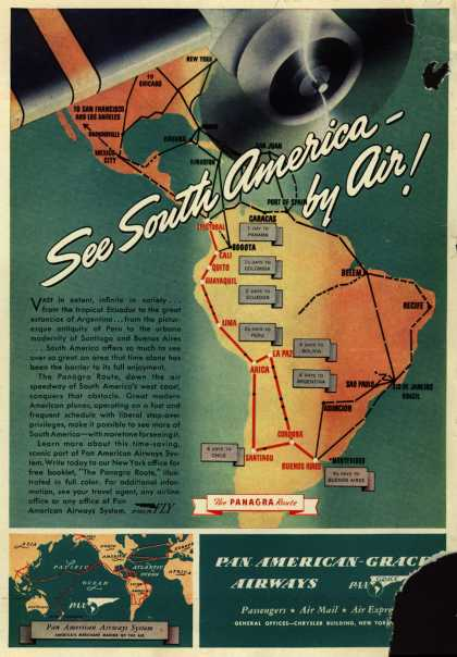 Pan American Grace Airway's South America – See South America – by Air (1940)