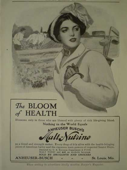 Anheuser Busch Co Malt Nutrine Bloom of Health AND JL Mott Iron Works Bath Tubs (1910)