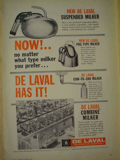 De Laval Separator. Suspended milker. De Laval has it. (1957)