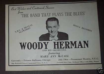 Woody Herman Photo 10 X 8 Original Promo (1939)