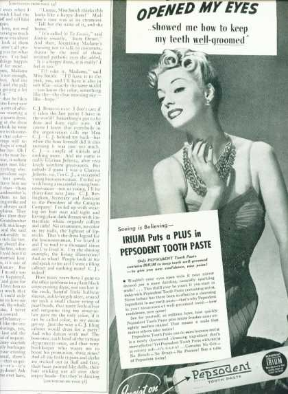 Pepsodent Tooth Paste Irium Pretty Woman 1/2 Pg (1939)
