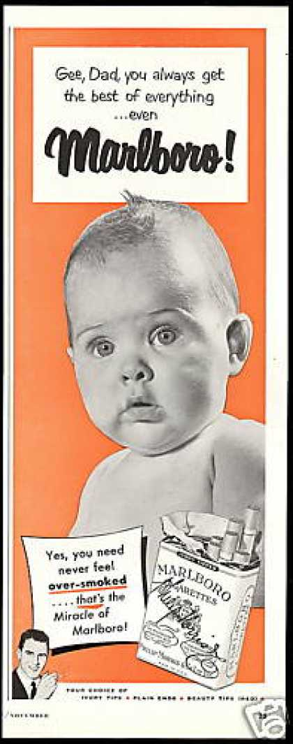 Cute Baby Gee Dad Marlboro Cigarettes (1950)
