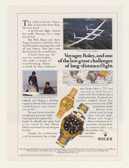 Yeager Rutan Voyager Aircraft Rolex Watch (1988)