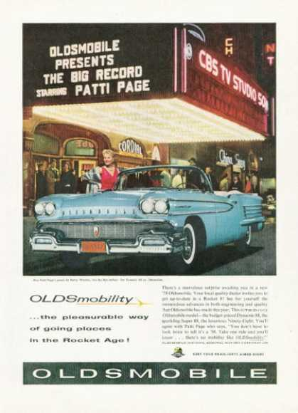 Oldsmobile Dynamic 88 Cbs Studio Ad Patti Page (1958)