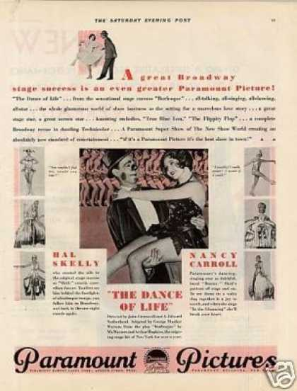 "Paramount Pictures Ad 'the Dance of Life"" (1929)"