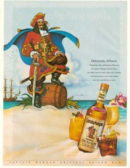 Captain Morgan Spiced Rum Beach Don Maitz art (1990)