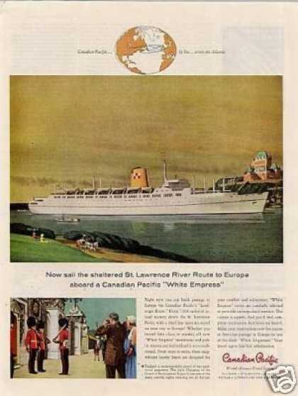 Canadian Pacific Ad White Empress Ship (1958)