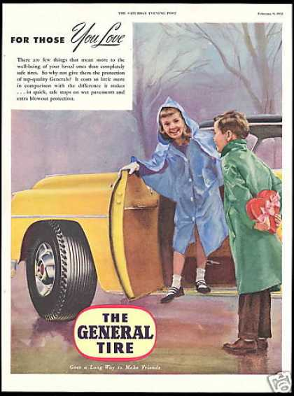 General Car Tire Valentines Candy Cute (1952)