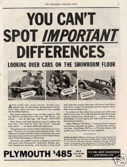 "Plymouth Car Ad ""You Can't Spot... (1935)"
