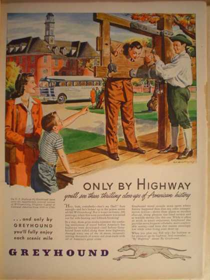 Greyhound Bus lines Only by highway (1946)