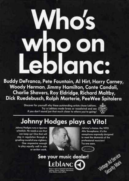 Johnny Hodges Photo Who's Who On Leblanc (1967)