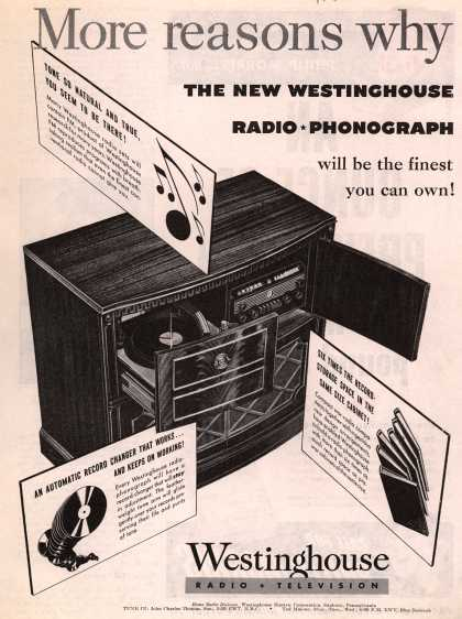 Westinghouse Electric Corporation's Radio-Phonograph – More Reasons Why the New Westinghouse Radio-Phonograph will be the finest you can own (1945)