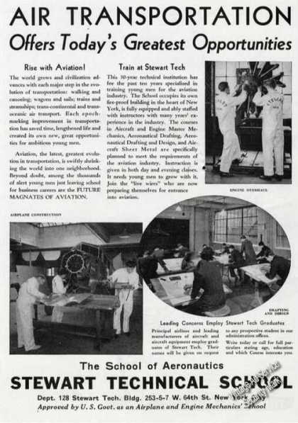 Stewart Technical School Aeronautics Ny Rare (1939)