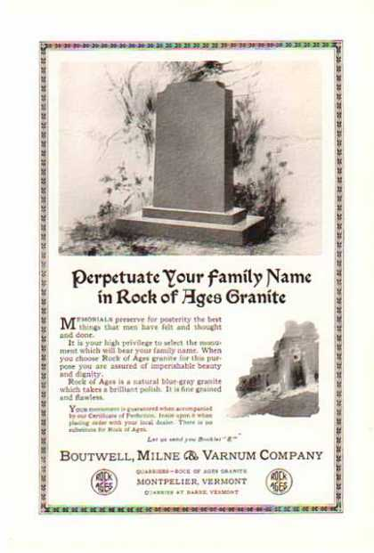 Rock of Ages Granite – Headstone (1924)